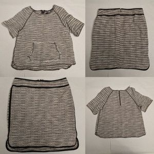 Lord & Taylor Black & White Tweed Skirt and Top